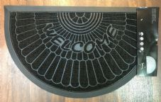 NON SLIP DOORMAT 45X75CM RUBBER BACK TOP QUALITY ALL COLOURS HALF MOON BLACK!